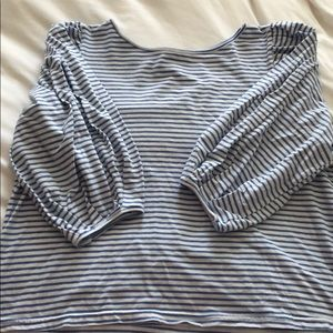 3/4 sleeve top with puffy sleeves